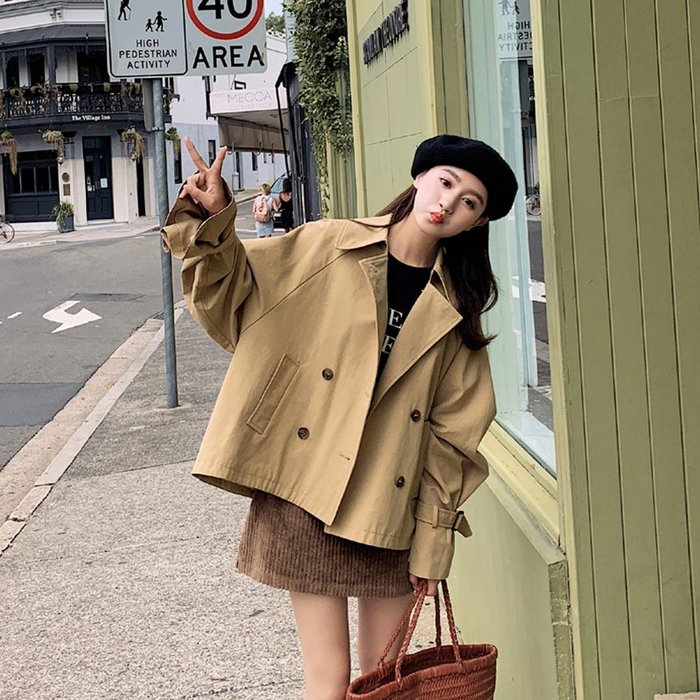 衣萊時尚矮小個子風衣外套女短款新款流行學生百搭薄款工裝外衣