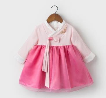 紫滕戀推出女童唐裝漢服嬰兒禮服寶寶一周歲衣服連衣裙中國風適合 73-110