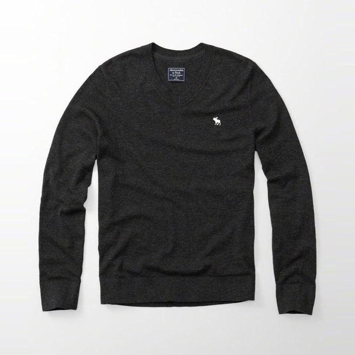 美國百分百【Abercrombie & Fitch】針織衫 AF 毛衣 麋鹿 V領 上衣 保暖 羊毛 鐵灰色 H401
