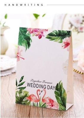 新款結婚席位卡 歐式婚禮嘉賓桌卡 個性創意桌牌婚宴座位卡 紅鶴款