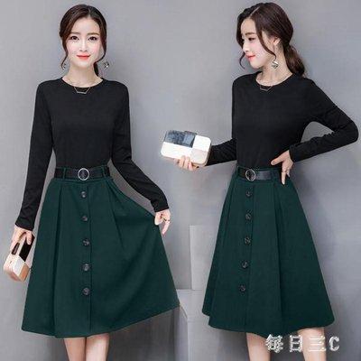 洋裝秋裝女裝假兩件長袖連身裙修身時髦套裝裙打底裙 zm9125