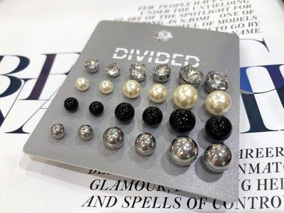 [ AD lib 代購 ] 出清 H&M 12對 大小 珍珠 銀色 黑色 單鑽 造型 耳環 台北市