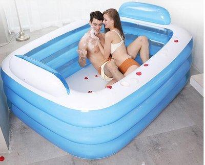 雙人超大家用成人浴盆情侶充氣浴缸兒童加厚洗澡桶折疊浴盆泡澡桶   IGO