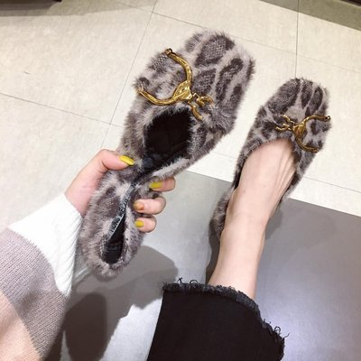 【Trend Sh】2018新款正韓復古豹紋方頭平底鞋女毛毛單鞋軟底豆豆鞋百搭毛毛鞋