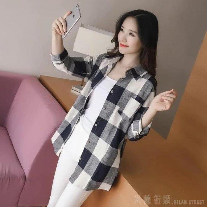 米蘭 2019春裝新款格子襯衫女長袖韓版寬鬆百搭休閒棉麻上衣秋季外套