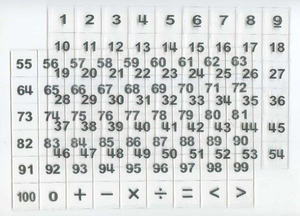 遊思樂益智教具【U-bi小舖】(0-100數字及符號)數字透明片108PCS《壓克力透明數字片》