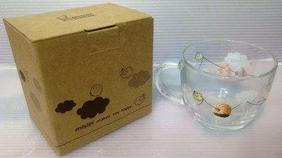 龍廬-自藏出清~玻璃製品-99年6月製Mister Donut 甜甜圈杯426cc 玻璃把手杯/大碗杯/只有2個