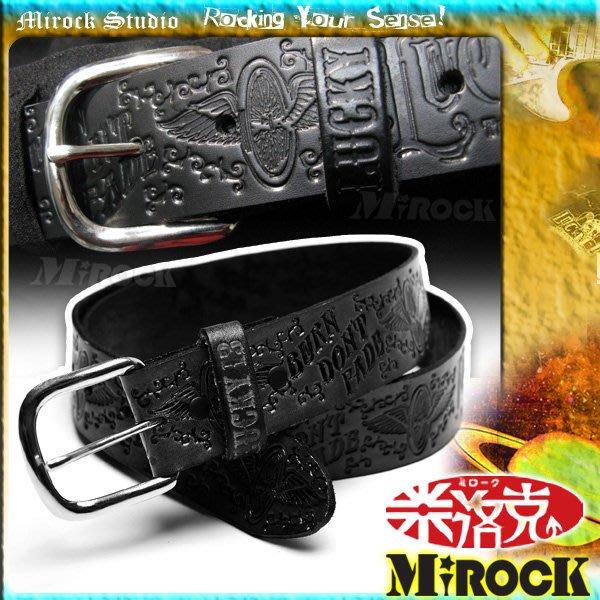 MIROCK米洛克》特賣↘美國街牌Lucky13正版製品㊣高質感立體浮雕刻字真皮帶 皮革腰帶|美式搖滾|素黑色|尺寸可選