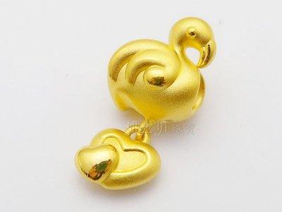 如玉坊珠寶  精品硬金火鶴垂吊雙心串珠  黃金串珠  AE&