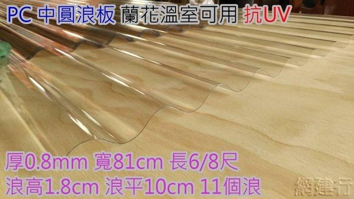 網建行 ㊣PC 中圓浪板 抗UV 長度6/8尺 厚度0.8mm 每尺55元 蘭花溫室可用 另有~纖維板 浪板 遮陽板