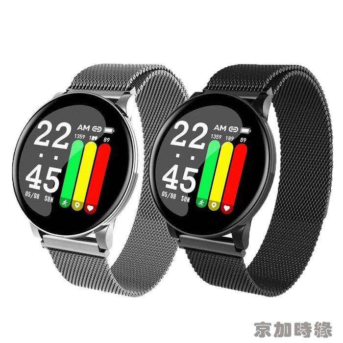 2020新款W8智能手環圓屏米蘭尼斯心率血壓多功能運動手環