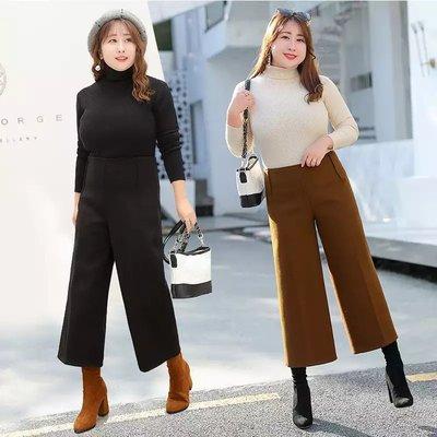 ✿plump girl 韓系✿大尺碼女裝毛呢闊腿大碼八分褲k594