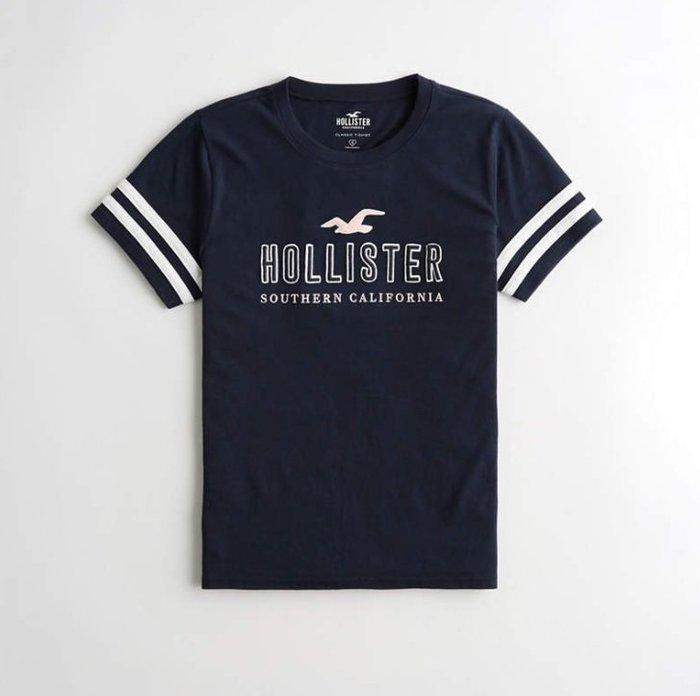 HCO Hollister 海鷗 車繡 logo 短袖 短T 女生 藍色