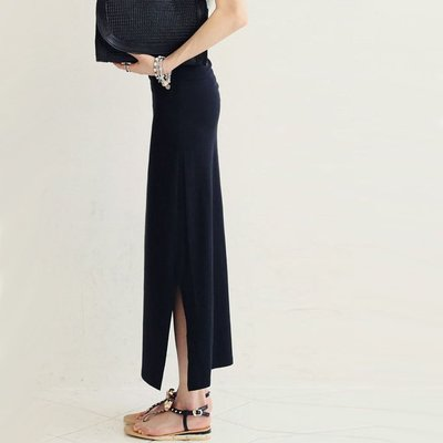 窄裙 透氣超彈力激瘦莫代爾雙側開叉包臀長裙 艾爾莎【TAK2199】