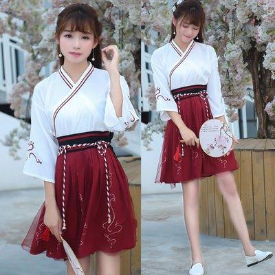中國民族風 改良漢服古典繡花綁帶古裝交領襦裙舞臺裝—莎芭