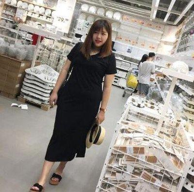洋裝 胖妹妹新款夏裝大尺碼女裝100公斤加肥加大藏肉連身裙開叉裙—莎芭