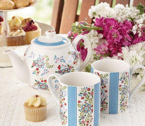 《齊洛瓦鄉村風雜貨》英國CHURCHiLL瓷器 英國鄉村花卉系列  一壺兩杯禮盒組 下午茶組