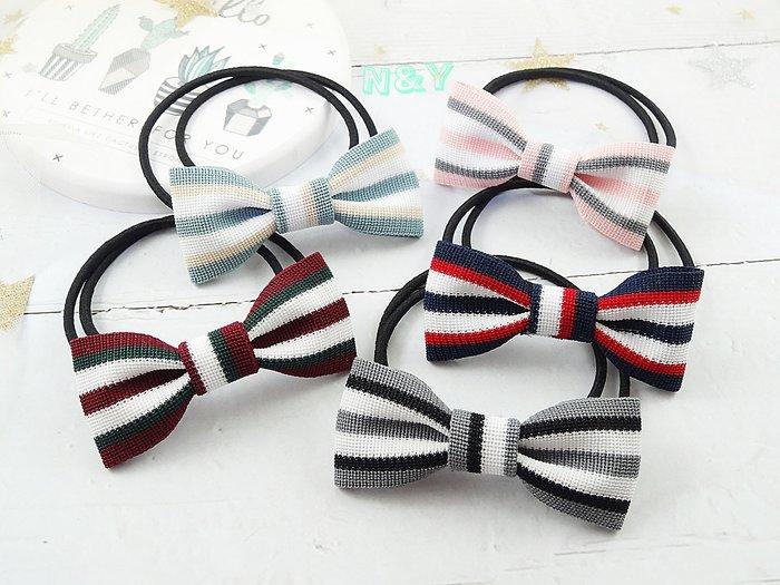 韓國條紋織帶蝴蝶結髮圈髮飾髮繩馬尾髮圈HA71 ☆【N&Y】【現貨】