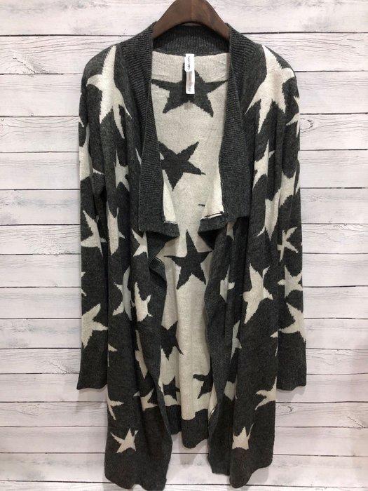 Maple麋鹿小舖 AEROPOSTALE * AERO 星星圖案開襟長版針織外套* ( 現貨XS號 )