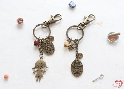 ♥STORY SAYS♥【超人媽媽】手創 客製 瑪瑙古銅鑰匙圈(附禮物包裝) 吊飾 禮物 生日 媽媽 閨密 朋友 紀念日