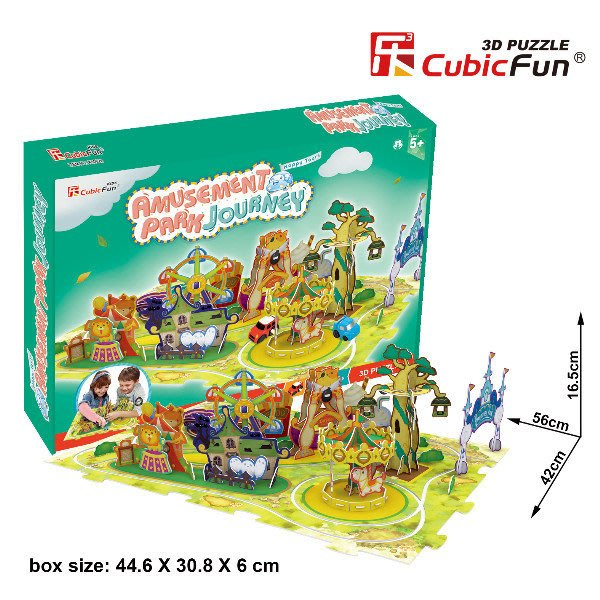佳廷家庭 親子DIY紙模型立體勞作3D立體拼圖專賣店 可動式歡樂兒童樂園賽車遊戲組 樂立方K1002