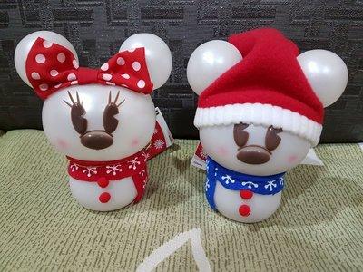 日本購回迪士尼正版授權米奇米妮雪人LED燈飾/擺飾一對。
