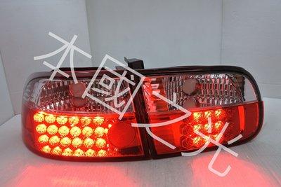 oo本國之光oo 全新 HONDA 本田 92 93 94 95 K6 五代喜美 3門 3D LED晶鑽上白下紅 尾燈