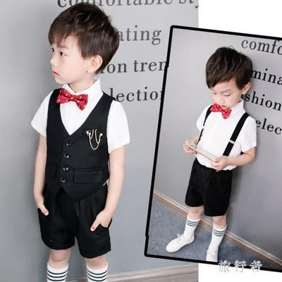 哆啦本鋪 男童短袖禮服 西裝套裝夏季兒童小主持人演出服裝背帶褲英倫風 3687D655