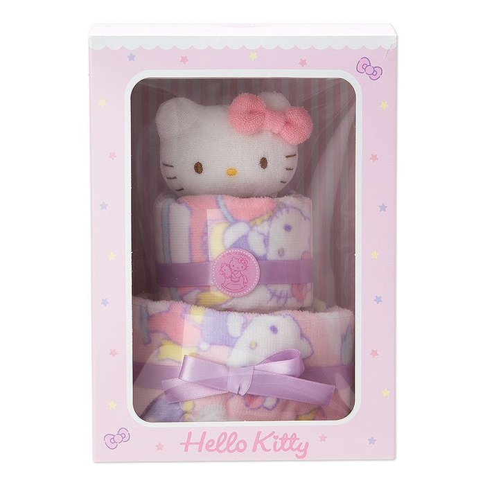 Hello Kitty 凱蒂貓 毛巾蛋糕套餐(嬰兒) 小日尼三 日本帶回商品 初生兒 滿月最佳禮物