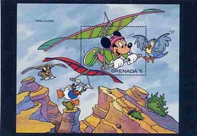 【K92】外國格瑞那達,狄斯奈小全張,米奇米妮飛翔大峽谷,低價起標,童話世界!a