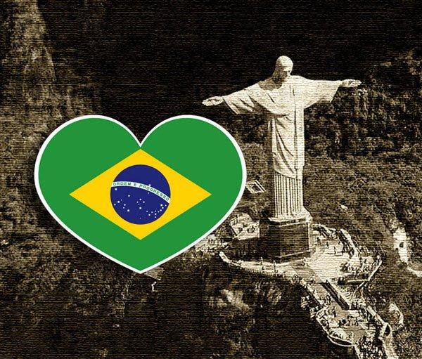 【國旗貼紙專賣店】巴西愛心形旅行箱貼紙/抗UV防水/多國款可收集和客製