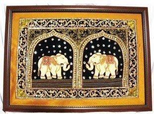 INPHIC-東南亞風情 印度家居大象掛毯 手工繡片串珠掛毯 家居裝飾 雙象