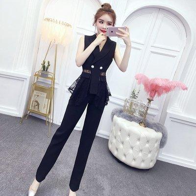 日韓女裝 洋裝 T恤 女褲 很仙的兩件套裝法國小眾2019新款洋氣西裝馬甲高腰顯瘦直筒褲子女