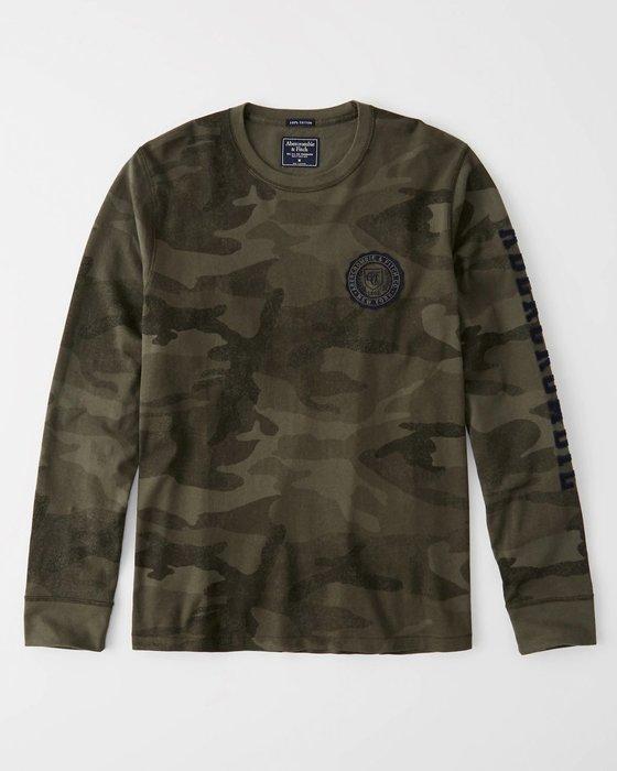 【天普小棧】A&F Abercrombie Long-sleeve Applique Tee貼布logo徽章長T迷彩M號