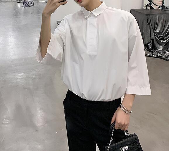 FINDSENSE 品牌 2019 春季 新款 寬鬆  潮流  個性 社會 男青年 中袖 簡約 免燙 襯衫 復古 氣質