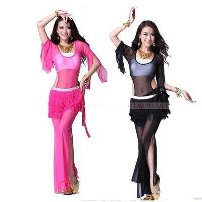 5Cgo【鴿樓】會員有優惠 14745594907  肚皮舞性感垂紗連檔腰裙3件套 舞衣 舞裙 舞蹈服 流蘇