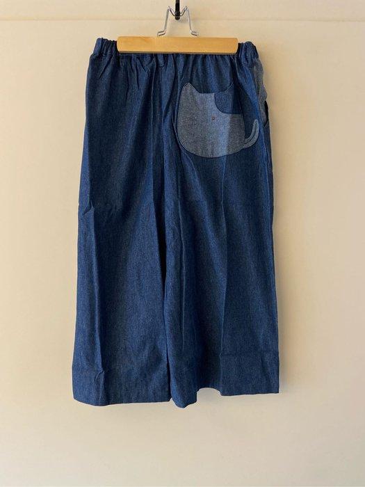日本卡拉貓~荳荳Gon醬口袋牛仔七分寬褲