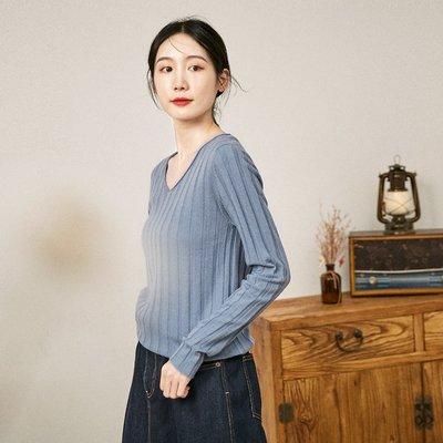   一品著衣   愜意自在秋新款坑條紋顯瘦氣質上衣100%羊毛修身顯瘦V領針織打底衫