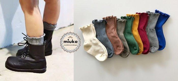 miuko BABY款韓國風嬰幼兒男女寶寶男童女童 春秋款 花邊 木耳邊 純棉 多色 中筒 短襪-現貨
