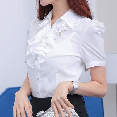 職業襯衫—夏季韓版荷葉花邊白色襯衫女長袖職業裝修身氣質雪紡上衣短袖
