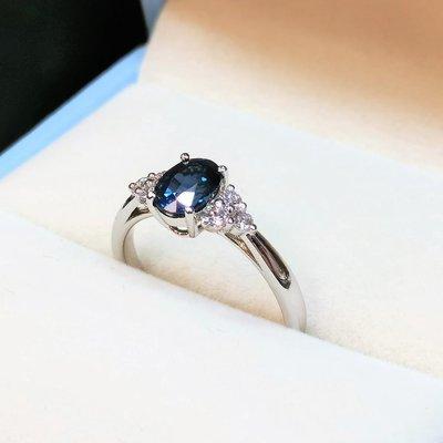 全新18K白金1卡20份藍寶石配18份真鑽石戒指 | HK13號