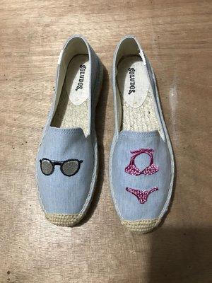 美國soludos新款時尚淺藍眼鏡比堅尼圖案刺繡帆布鞋 百搭休閑鞋 外出必備厚底鞋 編織底 現貨【促銷大特賣】
