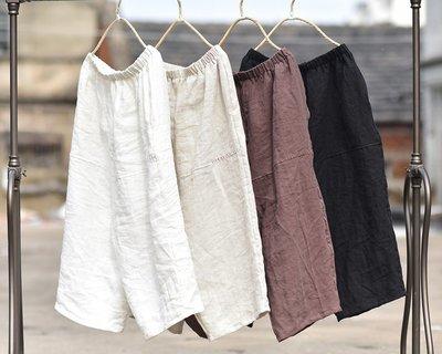 【子芸芳】純苧麻百搭直筒褲手工縫線九分鬆緊腰休閒闊腿褲 寬鬆褲
