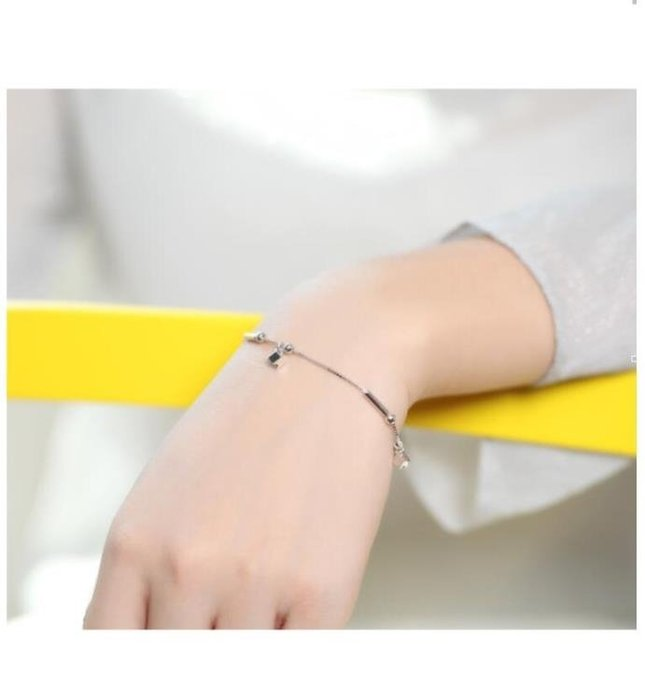 小方塊圓珠雙層手鍊女韓版簡約手鍊