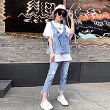 發發潮流服飾2019春裝正韓御姐洋氣女神復古修身氣質顯瘦三件套牛仔時尚套裝女