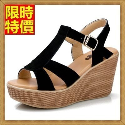 涼鞋 厚底坡跟涼鞋 楔型涼鞋-時尚熱銷柔軟舒適真皮女鞋子4色69w3[獨家進口][米蘭精品]