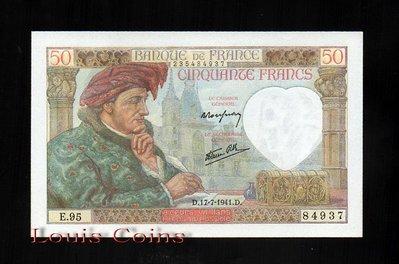 【Louis Coins】B098-FRANCE-1940-42法國鈔票.50 Francs