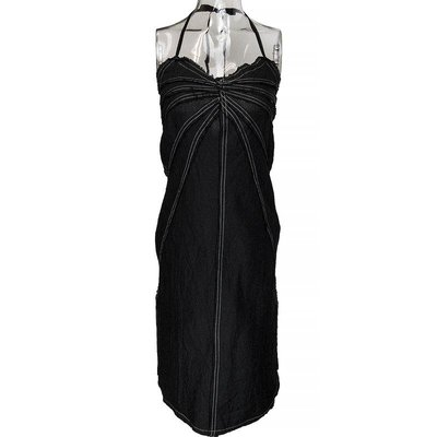 Description:義大利Max Mara副牌MAX&Co.黑色純亞麻抓褶抽須繞頸綁帶洋裝 義大利製   Color