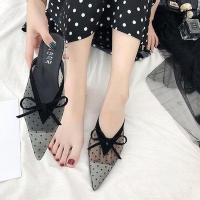 ZIHOPE 包頭拖鞋 夏季網紅同款蕾絲穆勒鞋網紗尖頭包頭平跟外穿涼拖鞋女鞋半拖ZI812