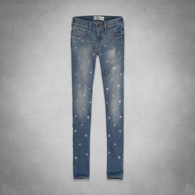 【天普小棧】A&F abercrombie super skinny jeans淺刷色水鑽合身牛仔褲KIDS 16號